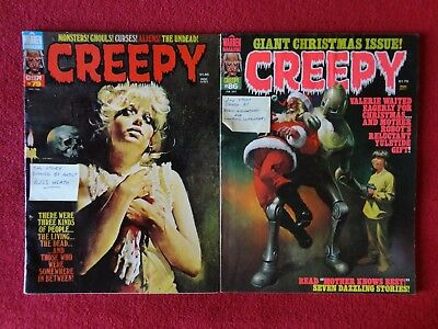 Creepy Lot of 2 Signed by Artists #79 & 86 Warren Vintage Horror Comic Magazines