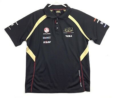 Holden Racing Team HRT Polo Shirt Black Gold Mens Size Large