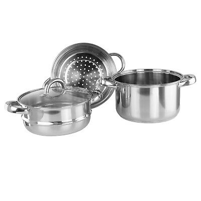 Lustro Stainless Steel 3-Tiered Steamer with Glass Vented Lid - 20cm