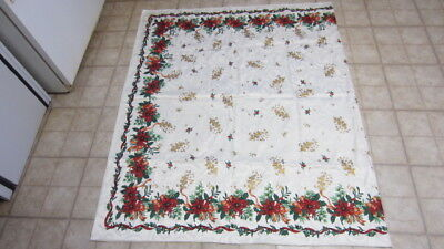 Beautiful Rectangle Poinsettia Linen Tablecloth, 100 in. x 60 in.