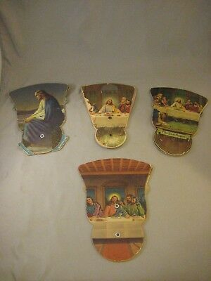 Vintage Religious Advertising Trifold Hand Fans  Lot of 4
