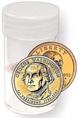 25 New Round Small Dollar Coin Tube Screw Cap Crystal Clear Sacajawea President