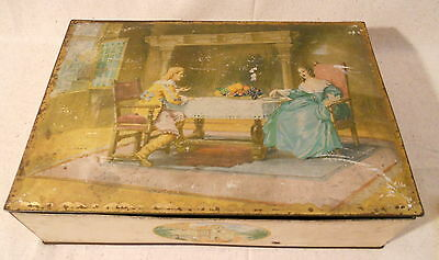 Vintage Uneeda Nabisco Brand Biscuit Tin Box with Victorian Couple Very Nice!