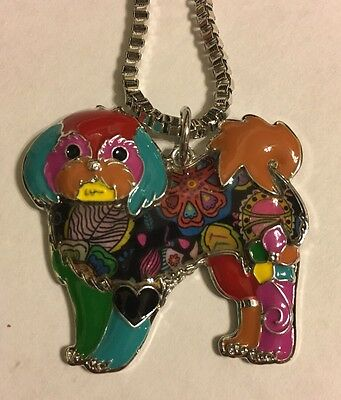 Beautiful Abstract Shih Tzu Dog Necklace. Very Unique Colorful