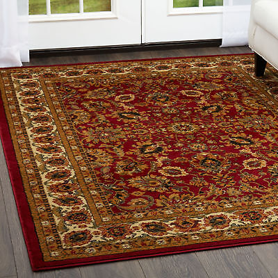 """Red Oriental Persian Round Area Rug 3x3 Bordered  Carpet - Actual 3'3""""x3'3"""""""