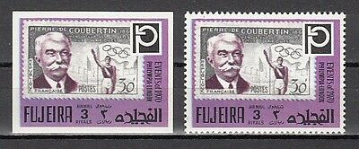 Fujeira, Mi cat. 1460 A-B. Modern Olympic Founder, PERF & IMPERF issues.