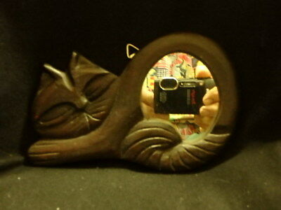 """Cat mirror to put on wall, handmade wood, 7"""" wide by 4/1/2"""" tall"""