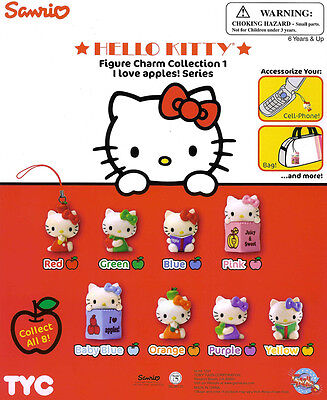 "HELLO KITTY ""I Love Apples"" 1-inch Mini Figure Charms - A Set of 8 (Rare)"