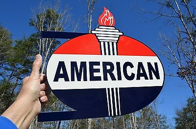 Old Style American Motor Oil & Gas Torch Vintage Type Steel Flange Sign Usa Made