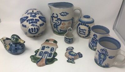 Lot of 9 M.A. Hadley Vintage Pottery Stoneware Man Woman Mugs Pitcher Cow Rings