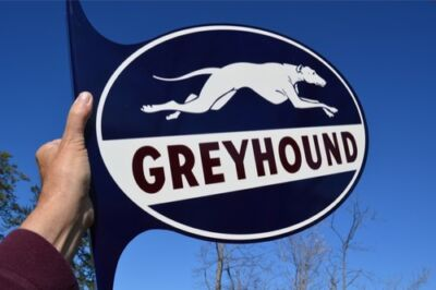 "Old Style 24"" Greyhound Dog Bus Lines Travel Dicut Flange Sign Mint Usa Made"