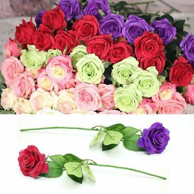 Rose Fake Silk Flower Leaf Artificial Home Wedding Decor Bridal Bouquet