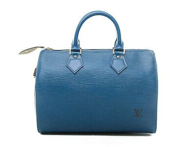 Authentic Louis Vuitton Toledo Blue Epi leather Speedy 25 M43015