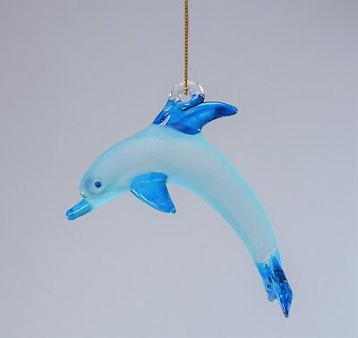 Hanging Light Blue Dolphin Figurine of Blown Glass Crystal