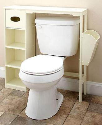 Wooden Bathroom Space Saver White Over Toilet Storage Cabinet Shelf Decor