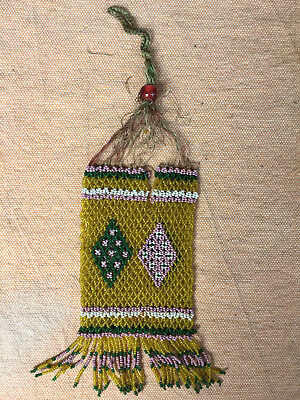 Antique Native American Indian Sm. Handmade Open-Weave Beaded Pouch - as is