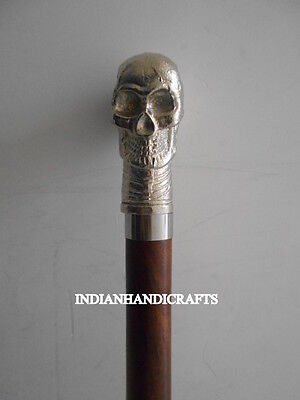 Vintage Antique Brown Wooden Walking Cane Stick With Skull Head Handle Replica