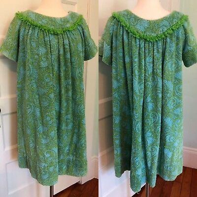 VINTAGE TERRY CLOTH beach pool cover up robe towel dress M L 60s blue green  mod 00c632f65