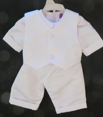 Christening Baby Boy 4pcs Set Baptism Gown Page Boy Gift Outfit Size 0 -  White