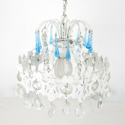 Vintage Country Chic Drippy Chandelier Blue Drop Crystal Prism Beaded Bulb Cover
