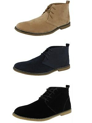 Mens Faux Suede Casual Lace Up Flat Smart Desert Chukka Chelsea Ankle Boots