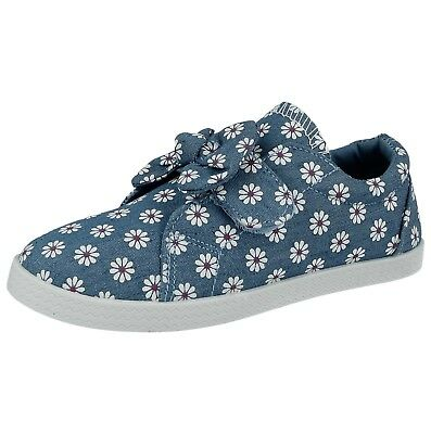 Girls Infant Krush Canvas Denim Daisy Flower Low Top Strap Bow Pumps Trainers