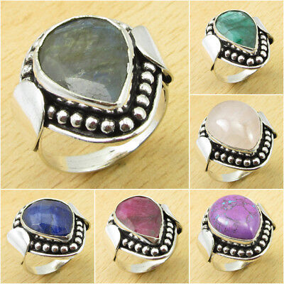 Your Choice ! LABRADORITE & Other Gem Ring ! Silver Plated Over Solid Copper