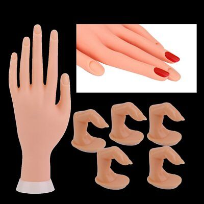 Practice Nail Art Trainer Training Hand Acrylic Gel False Tool + 5 Finger BI