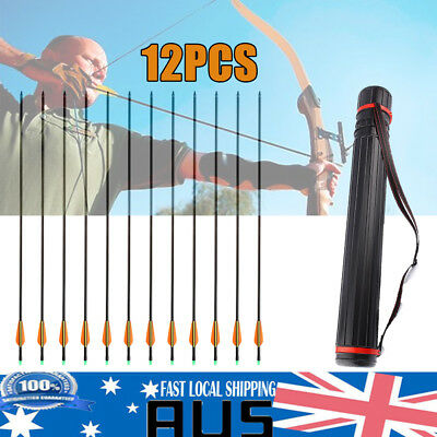 12Pcs 32inch Fiberglass Hunting Practice Archery Arrow Pouch Bow Arrows Quiver