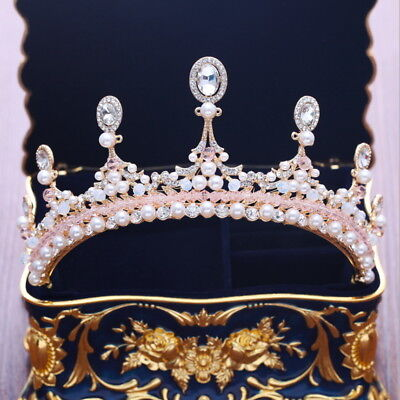 7cm High Oval Pink Crystal Beads Gold Tiara Crown Bridal Wedding Prom Pageant