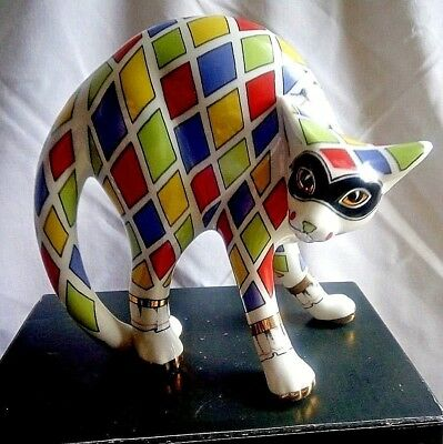 Paul Cardew Cool Catz   Harlequin Arched Back Cat - Purrfect