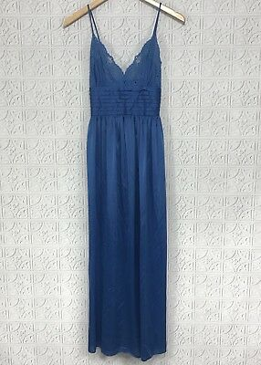 VTG LILY OF FRANCE Rosa Puleo XSP Long Nightgown Dress Blue Lace USA Sleeveless