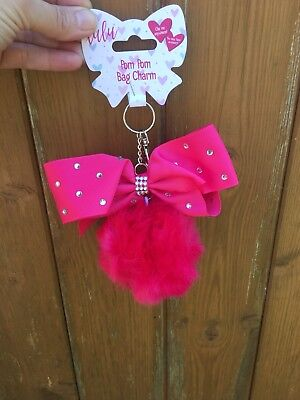 BNWT Lulu Bow Pom Pom Keyring / Bag Charm Hot Pink With Diamontes