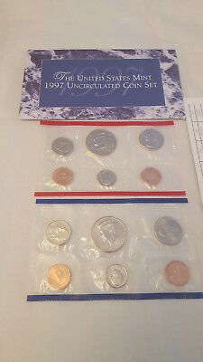 1997 US Coin Mint Set Flatpack 10 Coins 2 Kennedy Half Dollars Free Shipping 950