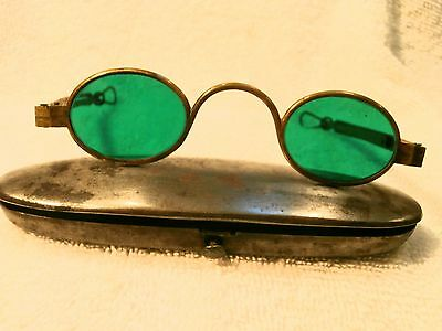 seltener 555ms Messing Oval Sonnenbrille Eisen Clam Schutzhülle Made in England