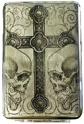 Eclipse Double Skulls Cross Crushproof Leatherette Metal Cigarette Case, Kings