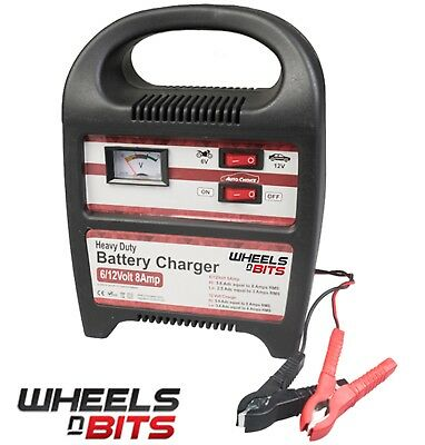 8 AMP 6V 12V Volt Battery with Fast Charger or Trickle charge  Upto 2.5L Engine