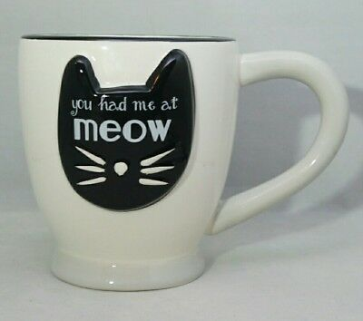 You Had Me At Meow Cat Lover Owner Ceramic White  Black Cup Large 18 oz Mug Gift