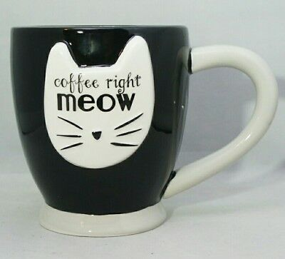 Coffee Right Meow Cat Lover Owner Ceramic Black White Cup Large 18 oz Mug Gift