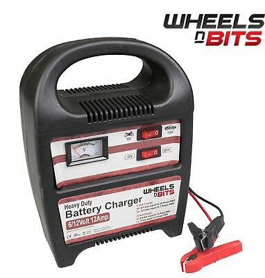 12 AMP 6V 12V Volt Battery with Fast Charger or Trickle charge  Upto 3.5L Engine