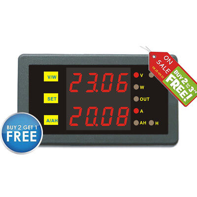 Battery Monitor DC Programmable 0-200V 0-500A Voltage AMP Ah Power Combo Meter