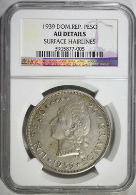 1939 Dominican Republic Peso Ngc Au Details Surface Hairlines