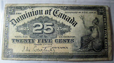 Dominion of Canada 25 cents 1900 paper money (#35a)