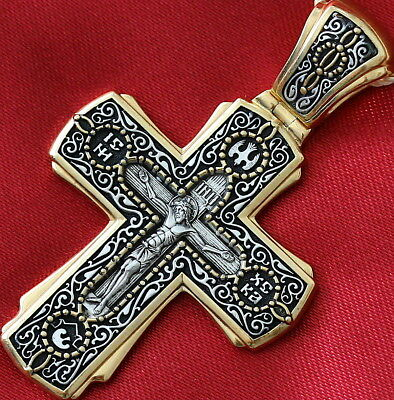 Big Russian Orthodox Cross, Silver 925+.999 Gold Plating 24K Mother Of God Kazan