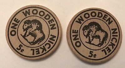 2 Vintage Wooden Nickles Huntsville Alabama THE WOODEN NICKEL LOUNGE