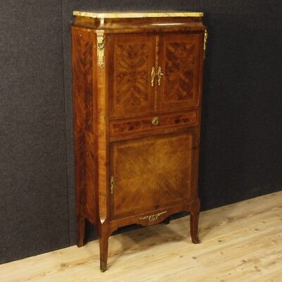 Cupboard french inlaid furniture secrétaire antique style wood marble bronze