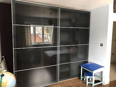 Ikea UGGDAL Sliding Doors And Rails 250cm X 236cm Black Glass For Pax  Wardrobe