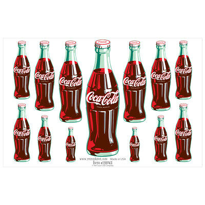Coca-Cola 13 Green Contour Bottles Vinyl Sticker Sheet 13 Laptop Car Decals
