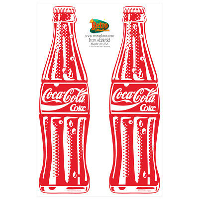 Coca-Cola 2 Bottles Red Vinyl Sticker Sheet Pop Art 2 Laptop Car Decals