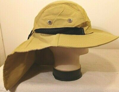 Boonie Neck Cover Flap Sun Protection Hat Khaki Fishing Hunt Wide Brim